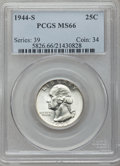 Washington Quarters: , 1944-S 25C MS66 PCGS. PCGS Population (677/85). NGC Census:(875/312). Mintage: 12,560,000. Numismedia Wsl. Price for probl...