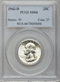 Washington Quarters: , 1942-D 25C MS66 PCGS. PCGS Population (452/32). NGC Census:(475/145). Mintage: 17,487,200. Numismedia Wsl. Price for probl...
