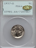 Buffalo Nickels, 1937-D 5C MS64 PCGS. Gold CAC. PCGS Population (956/5377). NGCCensus: (309/3268). Mintage: 17,826,000. Numismedia Wsl. Pri...