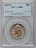 Washington Quarters: , 1953-D 25C MS66 PCGS. PCGS Population (188/18). NGC Census:(299/55). Mintage: 56,112,400. Numismedia Wsl. Price for proble...