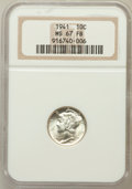 Mercury Dimes: , 1941 10C MS67 Full Bands NGC. NGC Census: (287/5). PCGS Population(259/6). Mintage: 175,106,560. Numismedia Wsl. Price for...