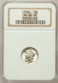 Mercury Dimes: , 1934 10C MS66 Full Bands NGC. NGC Census: (149/68). PCGS Population(396/189). Mintage: 24,080,000. Numismedia Wsl. Price f...