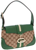 Luxury Accessories:Bags, Gucci Brown GG Canvas and Green Leather Shoulder Bag. ...