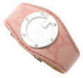 Luxury Accessories:Accessories, Gucci Pink Monogram Leather and White Dial 104L Watch. ...