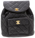Luxury Accessories:Bags, Chanel Black Lambskin Leather Backpack with Gold Hardware. ...