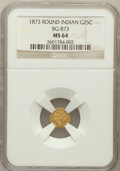 California Fractional Gold: , 1873 25C Indian Round 25 Cents, BG-873, Low R.6, MS64 NGC. ...