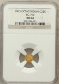 California Fractional Gold: , 1873 25C Indian Octagonal 25 Cents, BG-793, R.5, MS64 NGC. NGCCensus: (2/1). PCGS Population (12/3). ...