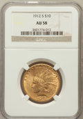 Indian Eagles: , 1912-S $10 AU58 NGC. NGC Census: (365/289). PCGS Population(176/339). Mintage: 300,000. Numismedia Wsl. Price for problem ...