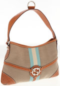 Luxury Accessories:Bags, Gucci Brown Leather and Canvas Bag with Signature Stripe. ...