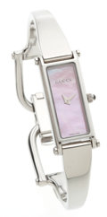 Luxury Accessories:Accessories, Gucci Pink Shell Face Stainless Steel Watch. ...