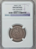 Seated Quarters: , 1868-S 25C -- Obv Damage -- NGC Details. Fine. NGC Census: (1/32).PCGS Population (6/42). Mintage: 96,000. Numismedia Wsl....
