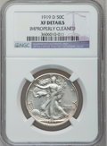 Walking Liberty Half Dollars, 1919-D 50C -- Improperly Cleaned -- NGC Details. XF. NGC Census:(12/356). PCGS Population (22/356). Mintage: 1,165,000. Nu...