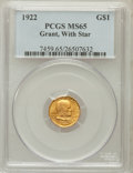 Commemorative Gold, 1922 G$1 Grant With Star MS65 PCGS. PCGS Population (507/814). NGCCensus: (318/446). Mintage: 5,016. Numismedia Wsl. Price...