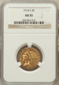 Indian Half Eagles: , 1914-S $5 AU55 NGC. NGC Census: (182/1051). PCGS Population(118/659). Mintage: 263,000. Numismedia Wsl. Price for problem ...