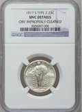 Standing Liberty Quarters: , 1917-S 25C Type Two -- Obv Improperly Cleaned -- NGC Details. Unc.NGC Census: (1/338). PCGS Population (5/411). Mintage: 5...