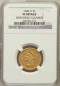 Liberty Half Eagles, 1844-O $5 -- Improperly Cleaned -- NGC Details. XF. NGC Census:(38/506). PCGS Population (37/219). Mintage: 364,600. N...