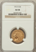 Indian Half Eagles: , 1913-S $5 AU58 NGC. NGC Census: (628/381). PCGS Population(169/287). Mintage: 408,000. Numismedia Wsl. Price for problem f...