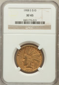 Indian Eagles: , 1908-S $10 XF45 NGC. NGC Census: (58/599). PCGS Population(61/524). Mintage: 59,850. Numismedia Wsl. Price for problem fre...