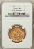Indian Eagles, 1911-S $10 -- Obverse Scratched -- NGC Details. AU. NGC Census:(13/270). PCGS Population (22/259). Mintage: 51,000. Numism...