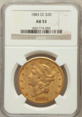Liberty Double Eagles: , 1883-CC $20 AU53 NGC. NGC Census: (141/631). PCGS Population(80/281). Mintage: 59,962. Numismedia Wsl. Price for problem f...