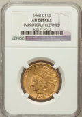 Indian Eagles, 1908-S $10 -- Improperly Cleaned -- NGC Details. AU. NGC Census: (46/553). PCGS Population (75/449). Mintage: 59,850. N...