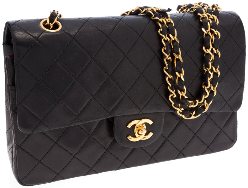 d296624cc33df6 Luxury Accessories:Bags, Chanel Black Lambskin Leather Medium Double Flap  Bag with GoldHardware.