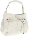 Luxury Accessories:Bags, Tod's White Leather Shoulder Bag with Knot Detail . ...