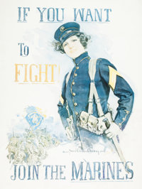 HOWARD CHANDLER CHRISTY (American, 1872-1952) If You Want To Fight, Join The Marines, 1915 Color lit