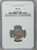 Buffalo Nickels: , 1913-S 5C Type Two AU53 NGC. NGC Census: (34/985). PCGS Population(53/1430). Mintage: 1,209,000. Numismedia Wsl. Price for...