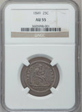Seated Quarters: , 1849 25C AU55 NGC. NGC Census: (8/46). PCGS Population (10/30).Mintage: 340,000. Numismedia Wsl. Price for problem free NG...