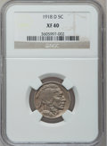 Buffalo Nickels: , 1918-D 5C XF40 NGC. NGC Census: (21/438). PCGS Population (37/709).Mintage: 8,362,000. Numismedia Wsl. Price for problem f...