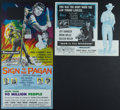 "Movie Posters:Adventure, Sign of the Pagan & Others Lot (Universal International, 1954).Studio Mailers (5) (3.5"" X 8.75"" & 3.75"" X 8.5""). Adventure....(Total: 5 Items)"