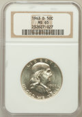 Franklin Half Dollars: , 1963-D 50C MS65 NGC. NGC Census: (2649/70). PCGS Population(1017/22). Mintage: 67,069,292. Numismedia Wsl. Price for probl...
