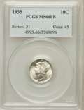 Mercury Dimes: , 1935 10C MS66 Full Bands PCGS. PCGS Population (785/239). NGCCensus: (300/114). Mintage: 58,830,000. Numismedia Wsl. Price...