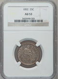 Seated Quarters: , 1852 25C AU53 NGC. NGC Census: (2/38). PCGS Population (2/38).Mintage: 177,060. Numismedia Wsl. Price for problem free NGC...