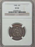 Seated Quarters: , 1848 25C VF35 NGC. NGC Census: (3/25). PCGS Population (5/38).Mintage: 146,000. Numismedia Wsl. Price for problem free NGC...