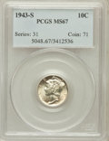 Mercury Dimes: , 1943-S 10C MS67 PCGS. PCGS Population (182/3). NGC Census: (625/5).Mintage: 60,400,000. Numismedia Wsl. Price for problem ...
