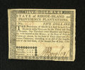 Colonial Notes:Rhode Island, Rhode Island July 2, 1780 $5 Extremely Fine-About Uncirculated. Thesignatures are present on this note that was once mounte...