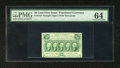 Fractional Currency:First Issue, Fr. 1312 50c First Issue PMG Choice Uncirculated 64. This note is kept from the gem status by a bottom edge that briefly rea...