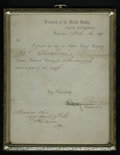 Fractional Currency:Shield, Framed 1871 Treasury of the United States, Cash Division Letter. This letter announces the shipment of two fractional curren...