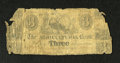 Canadian Currency: , Montreal, LC- Agricultural Bank $3 ?, 183? Charlton 15-10-06. Thisis a scarce note on a phantom bank. Fair, repairs....