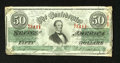 Confederate Notes:1863 Issues, T57 $50 1863. Nice green ink remains on this Jeff Davis $50 thatwas once mounted with an adhesive in each of its back corne...