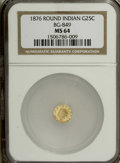 California Fractional Gold, 1876 25C Indian Round 25 Cents, BG-849, High R.5, MS64 NGC....
