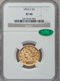 Liberty Half Eagles, 1854-D $5 Large D XF40 NGC. CAC. Variety 36-AA....