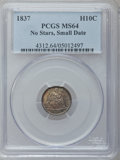 Seated Half Dimes, 1837 H10C No Stars, Small Date (Flat Top 1) MS64 PCGS....