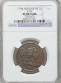 Large Cents, 1794 1C Head of 1794 -- Tooled -- NGC Details. XF. S-65, B-51,R.1....