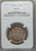 Commemorative Silver: , 1920 50C Maine MS65 NGC. NGC Census: (854/312). PCGS Population(898/399). Mintage: 50,028. Numismedia Wsl. Price for probl...