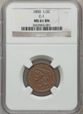 Half Cents: , 1850 1/2 C MS61 Brown NGC. C-1. NGC Census: (24/89). PCGSPopulation (3/74). Mintage: 39,800. Numismedia Wsl. Price for pr...