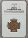 Half Cents: , 1856 1/2 C AU58 NGC. C-1. NGC Census: (37/208). PCGS Population(38/127). Mintage: 40,430. Numismedia Wsl. Price for probl...