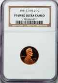 Proof Lincoln Cents, 1981-S 1C Type Two PR69 Red Ultra Cameo NGC. NGC Census: (147/0).PCGS Population (226/0). Numismedia Wsl. Price for probl...